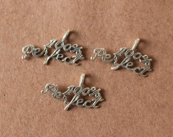 3 Sterling Silver 100 PERCENT PERFECT Charms