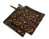 Handmade Quilted  Pot Holders set of 2 Black Orange Green Autumn Leaves