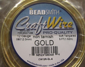 12 gauge Non Tarnish Gold Beadsmith Copper Craft Wire 5 ft