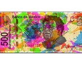 Diego Rivera Poster Instant Digital Download Painted Banknote Retro Art Print Boho Small t Poster Modern Decor Green Pink Blue Black White