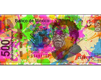 Diego Rivera Small t Poster Painted Banknote Bill Poster Instant Digital Download Art Print Boho Modern Home Green Pink Blue Black White DIY