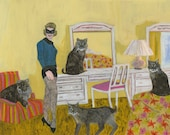 Barbara in the bedroom with bobcats.   Limited edition print of an original oil painting by Vivienne Strauss.