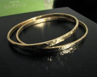 Heavy Hammered Oval Bangles Bracelets Solid 14K or 18K Gold- Set of 2