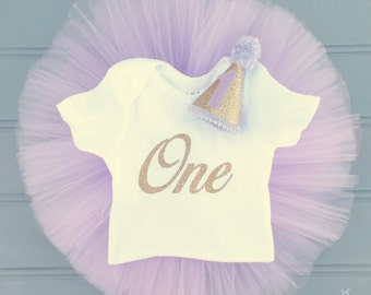 Lavender First Birthday Tutu Set, First Birthday Outfit, Cake Smash Set, Gold Glittery Number One Shirt, Party Hat, Lilac and Gold Birthday
