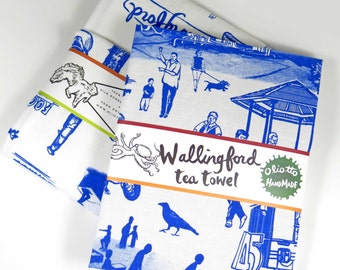 Wallingford Tea Towel Seattle Neighborhood souvenir silk screen OLIOTTO