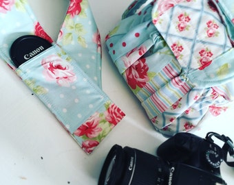 Padded Modern Patchwork Camera Bag with Strap Cover by Watermelon Wishes
