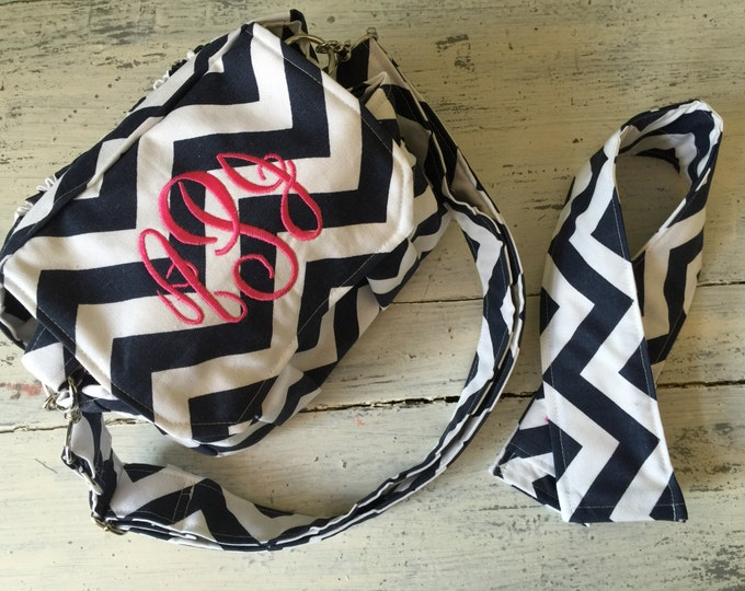 New! Navy Chevron MEDIUM size Digital Padded Camera Bag with removable divider by Watermelon Wishes and Strap Cover Set