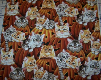 Cats and Pumpkins Cotton Fabric