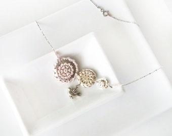 Triple Hex Sign - NECKLACE - Pennsylvania Dutch, embroidered jewelry, barnstar, geometric jewelry, folk art necklace, Distelfink - neutral