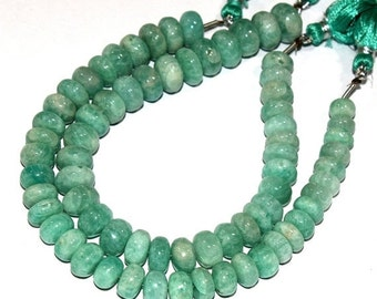 """55% Sale 1/2 Strand 4"""" 18 Pcs 7-10mm Finest Quality Natural Amazonite Smooth Rondelle Beads / Semiprecious Gemstone Beads"""