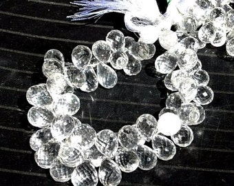 55% OFF SALE 1/2 Strand Finest Quality Natural Rock Crystal Quartz Micro Faceted Tear Drop Briolettes Large Size 12 - 11mm approx