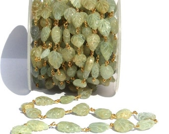 55% OFF SALE 9-12 mm Aquamarine Carved Leaf Rosary Style Beaded Chain, Gold Plated Wire Wrapped Chain, Chain Per Foot
