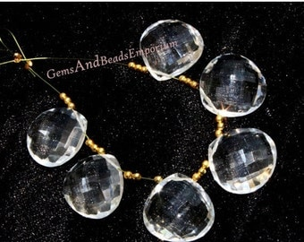 55% OFF SALE 18x18 mm AAA Crystal Quartz Faceted Heart Shape Briolette, Earring Pair, Gemstone Pair, Wire Wrapping, Loose Gemstone Beads