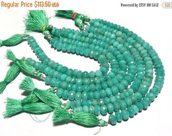 55% OFF SALE Full 8 Inches - Finest Quality Natural Brazilian Amazonite Faceted Rondelles Size 9 - 10mm approx