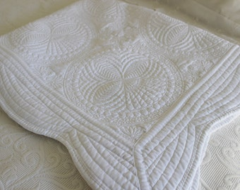 Custom Monogrammed Personalized Gender Neutral Crib Quilt, Baptismal Quilt, Newborn Gift