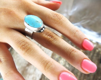 Salty Lips Sterling Silver Turquiose Ring