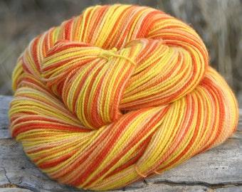 Handpainted Twist Sock Yarn - 80/20% Superwash Blue Faced Leicester Wool / Nylon - Candy Corn