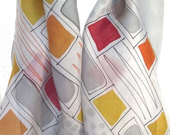 Hand Dyed & Painted Silk Habotai Scarf, Pearl Grey with Orange, Red, Yellow and Black Geometric Design, 15 x 72""