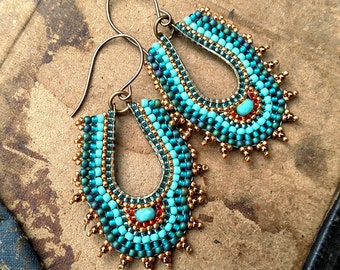 Turquoise Beaded Long Hoops, Deco Inspired, Gold and Brass Oval Hoop Earrings, Seed Bead Earrings