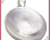 4 Glass Domes & 4 Round 1 Inch Silver Plated Pendant Trays - Silver Plated Cabochon Trays 25mm PS190