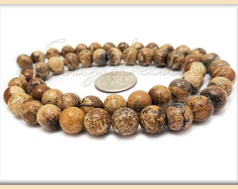 1 Full Strand Desert Jasper Beads 8mm - Round Picture Jasper Gemstone Beads 8mm