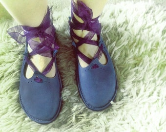 HOLLY fairy shoes, Handmade Leather Woodland Shoes by Fairysteps in Moody blues, purples