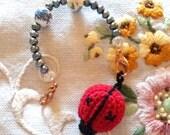Embroidery Beaded Scissor Fob with Ladybug Pin Cushion
