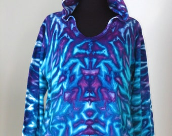 Tie dye, xl woman's thermal hoodie, extra large, tiedye by grateful dan, ice dye, inkblot ice dye, trippy tie dye