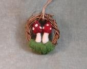 One Needle Felted Wool Mushroom Wreath Ornament  - Christmas - Winter - Decoration