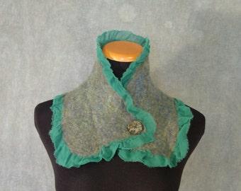 Sparkly Green Nuno Felted Scarf / Neck Warmer - Silk and Wool Felt