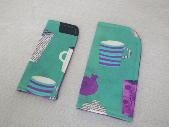 Sunglass or Eyeglass Case Coffee Cups on Turquoise Slide in Pouch Choose your Size