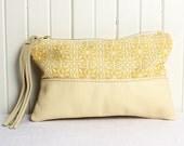 Yellow Cream Leather Zip Bag with Handcut Tassel