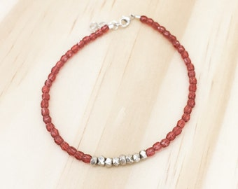 Delicate glass & silver bracelet