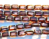 Alexandrite Picasso 12x10mm Czech GLass Rectangle Beads   12
