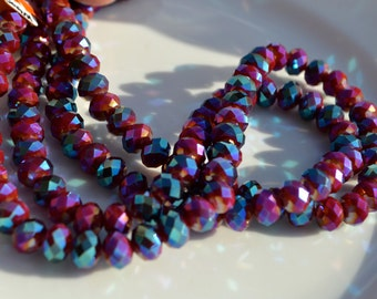 Magenta and Metallic Blue 8x5mm Crystal Rondelle Beads  25
