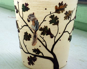 Greedy Chimunk Clutching an Acorn in the Branches of an Oak Tree Sculpted with Polymer Clay onto a Recycled Glass Candle Holder in Cream