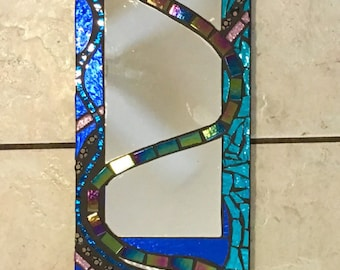 "6"" X 24"" Stained Glass Mosaic Mirror blue mixed media Rainbow great gift"