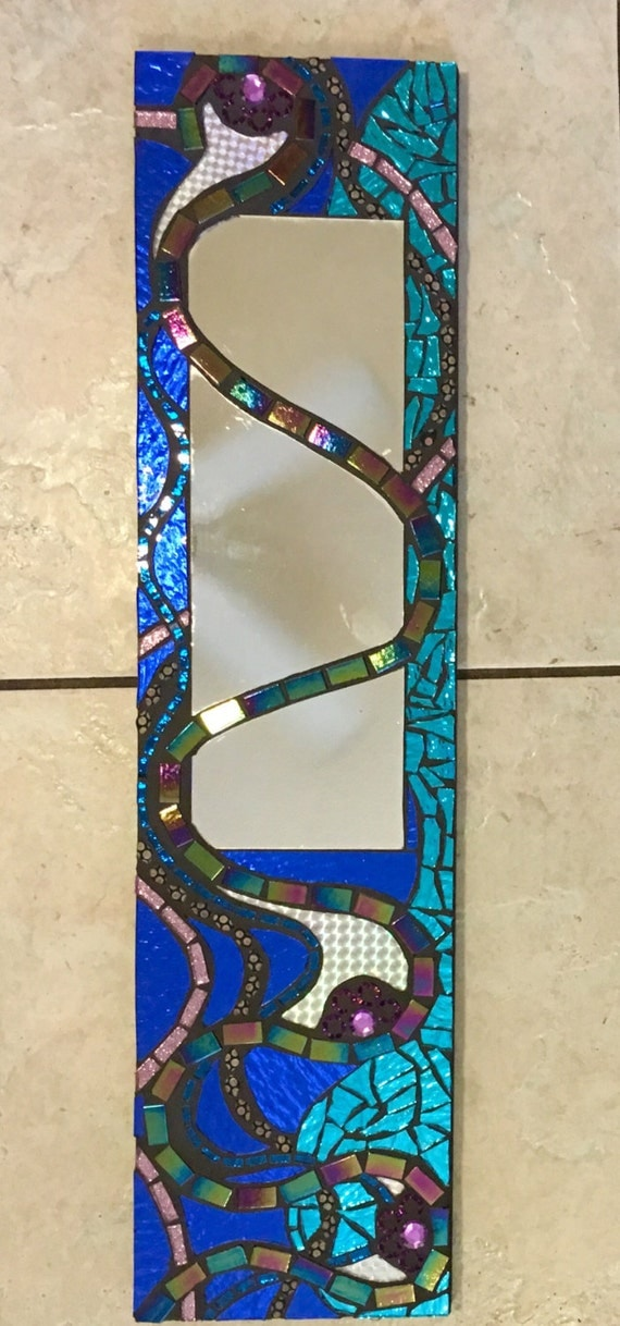 """6"""" X 24"""" Stained Glass Mosaic Mirror blue mixed media Rainbow great gift"""