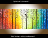 "60""Large original acrylic Abstract Landscape Painting canvas art Palette Knife Impasto Tree Painting Love Birds Painting ""Twilight II"""