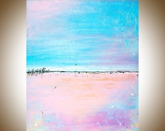 """pink Abstract oil painting gift for her blue abstract wall art canvas art home office decor """"Lovely"""" by QIQIGALLERY"""