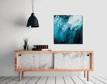 "Modern Wall Art Original acrylic Abstract Wall Art Free Flow Impasto painting home decor office decor ""Go with the Flow 6"" by QiQiGallery"