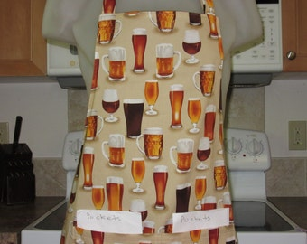 Mens Aprons - Womens Aprons - Beer Apron - Glasses of Beer