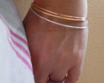 Bangle Bracelet - Bangle Stack - Silver Copper Brass Bangle Riveted - Mixed Metal Bangle - 3 Bangles Rustic Bangle -B-20