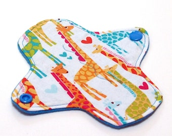 Reusable Cloth Pantyliner - ULTRATHIN - winged - 6 Inch with Quilter's Cotton top - Bright Giraffes by Michael Miller