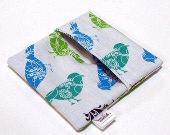 Cloth Menstrual Pad Wrapper - waterproof PUL lining and quilter's cotton outer - 4.5 x 4.5 inches - Sparrows