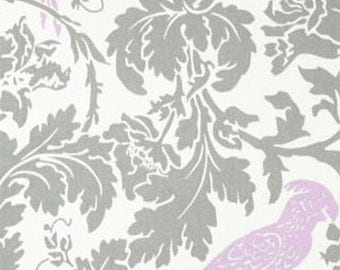 Grey Lavender Fabric by the Yard Barber Bird Storm Wisteria White Home Decor Upholstery Premier Prints - 1 yard or more