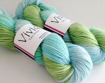 SALE - Hand Dyed Yarn - Bermuda - Superwash Merino Aran - Ready to Ship - Vivid Yarn Studio