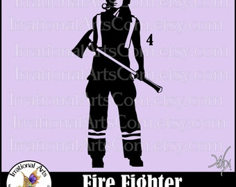 Fire Fighter Silhouette Pose 4 Female - 1 EPS & SVG Vinyl Ready Files and 1 PNG digital file and Small Commercial License (Instant Download)