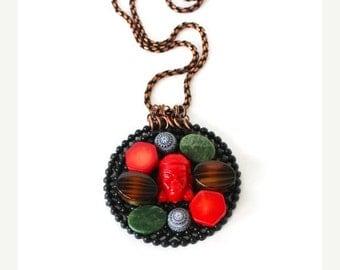 Red Shaman stone cabochon pendant bohemian statement necklace