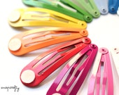 20pc hair snap clips  / enameled colored hair clip blanks / 16 colors / lead-free nickel-free snapclip